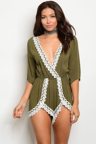 Misses Olive Green and White Romper