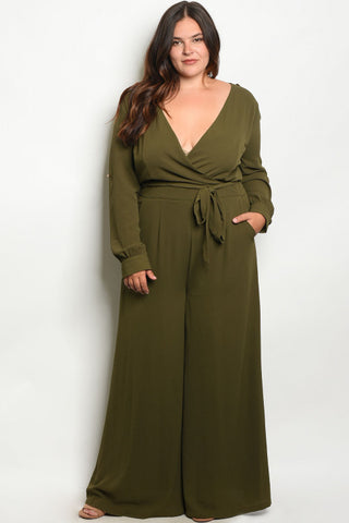 Olive Green Wide Leg Plus Size Jumpsuit