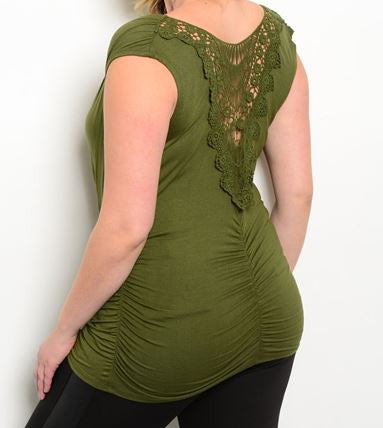 Women's Plus Size Olive Drop Neck Lace Back Ruched Top