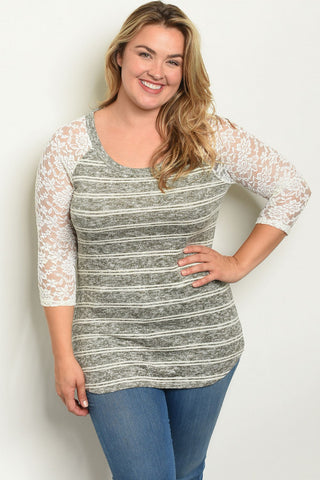 Olive Green Stripe Plus Size Top