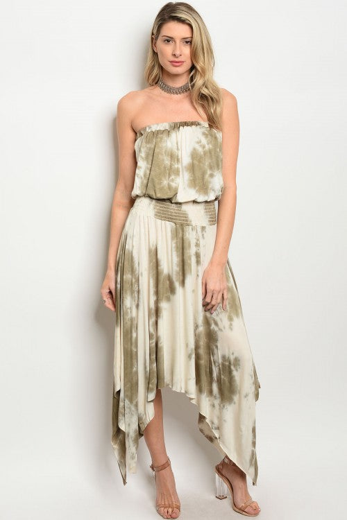 Misses Olive Green Tie Dye Strapless Maxi Dress
