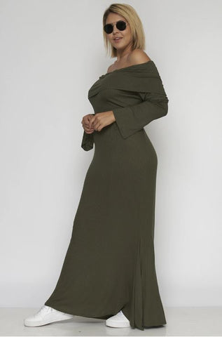 Olive Green Cold Shoulder Maxi Dress