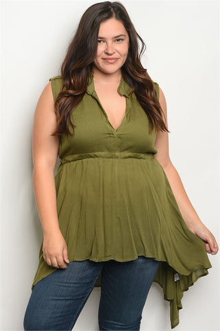 Olive Green Babydoll Plus Size Top