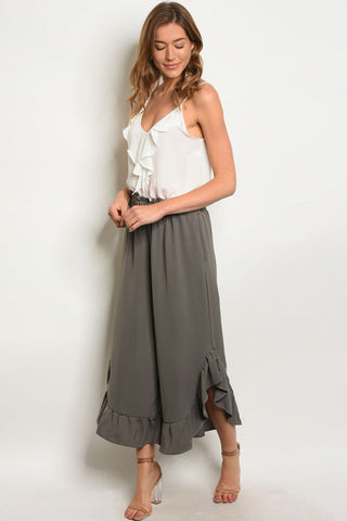 Olive Green Wide Leg Ruffled Detail Capri Pants