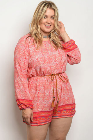Coral Pink Paisley Print Plus Size Romper