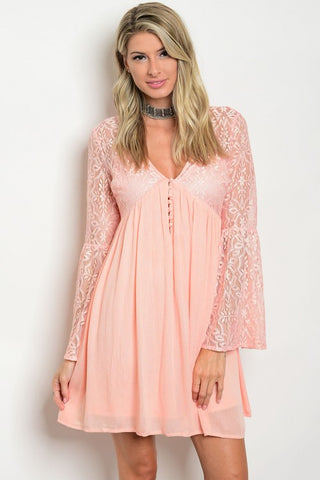 Misses Peach Babydoll Peasant Dress