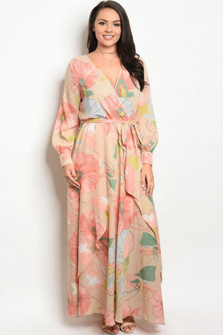 Peach Floral Plus Size Chiffon Maxi Dress