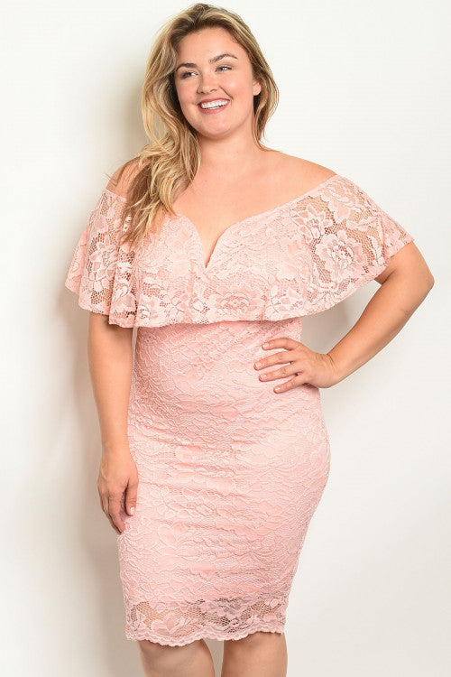 peach lace overlay cold shoulder plus size dress