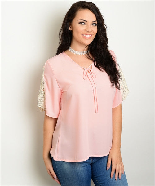 Women's Plus Size Peach Chiffon Top with Crocheted Lace Sleeves