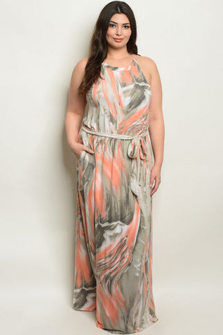 Peach and Olive Plus Size Maxi Dress