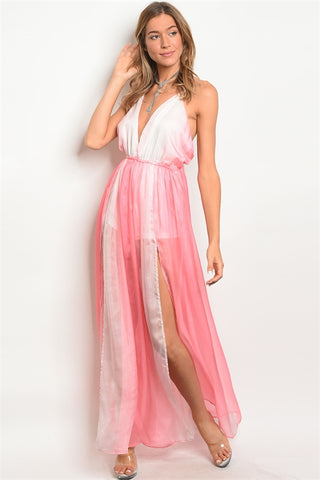 Pink and Ivory Tie Dye Maxi Dress Romper