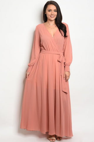 Pink Chiffon Long Sleeve Plus Size Maxi Dress