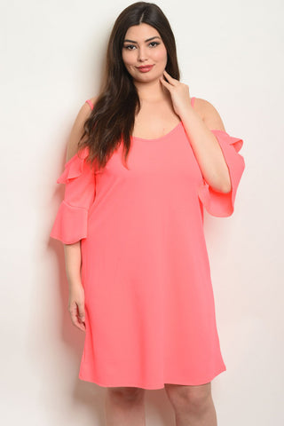 Neon Pink Plus Size Cold Shoulder Tunic Dress