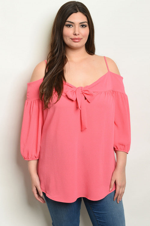 pink cold shoulder plus size tunic top