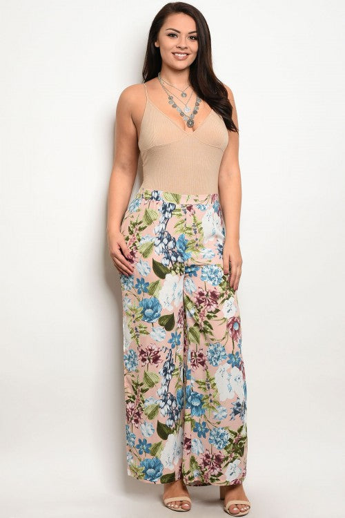 Pink Floral Plus Size Palazzo Pants