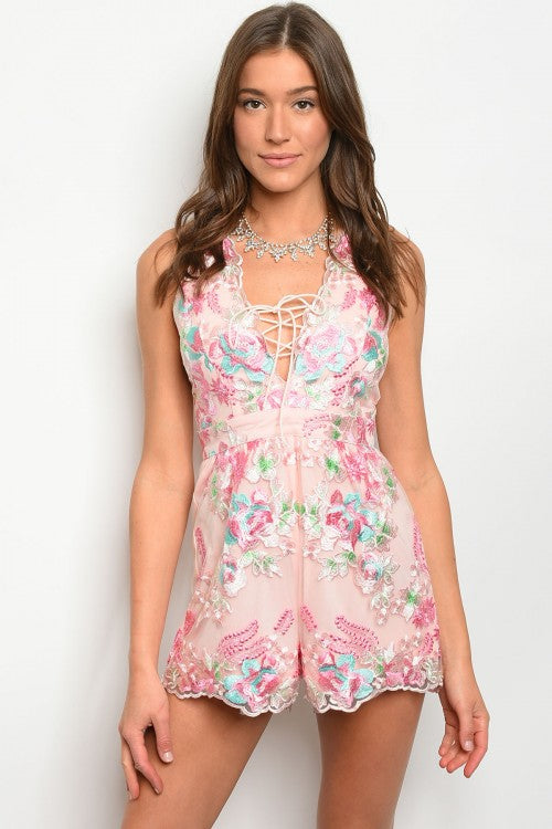 Misses Pink Mesh Lace Embroidered Romper