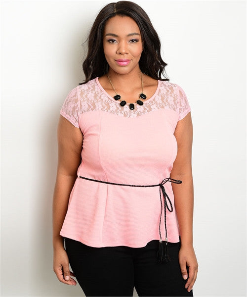 Women's Plus Size Pink Peplum Top with Belt and Lace Accents