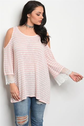 Pink and White Stripe Cold Shoulder Plus Size Top with Lace