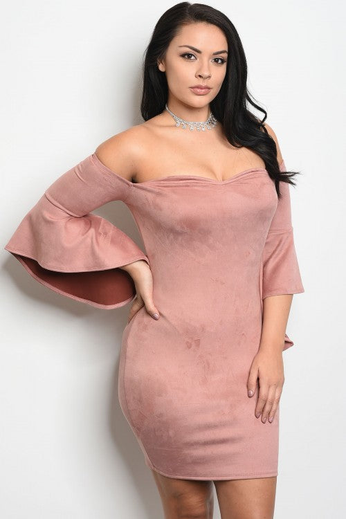 Mauve Pink Suede Bell Sleeve Plus Size Dress