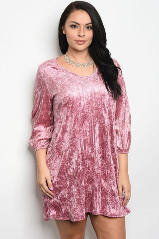 Pink Velvet Plus Size Skater Dress