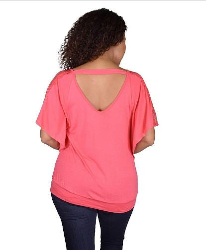 Women's Plus Size Pink Kimono Sleeve Top with Lace Accents