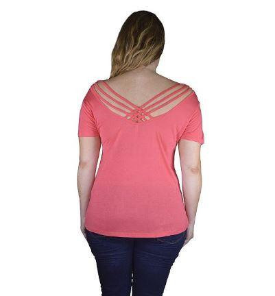 Women's Plus Size Pink Plus Size Strappy Back Top