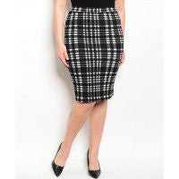 Women's Plus Size Black and White Plaid Pencil Skirt