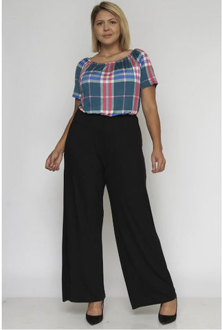 Black Plaid Plus Size Jumpsuit