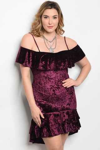 Plum Velvet Cold Shoulder Plus Size Cocktail Dress