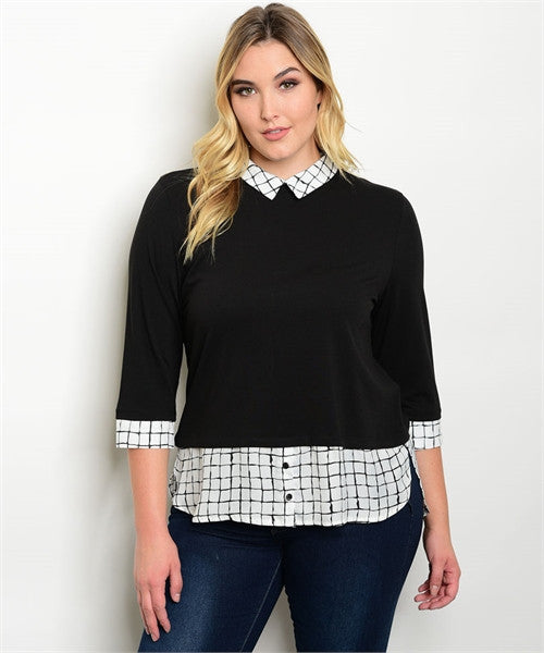 Women's Plus Size Black and White 3/4 Sleeve Collared Top Plaid Accents