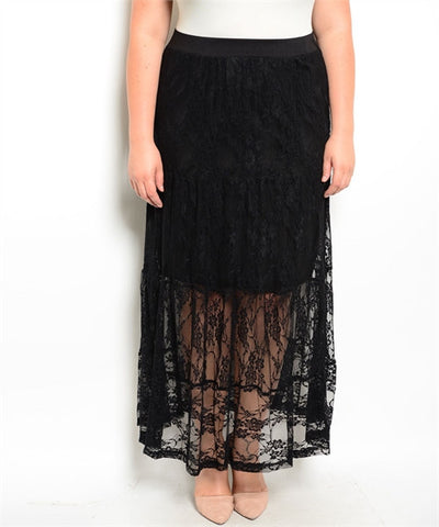 Women's Plus Size Black Lace Overlay Maxi Skirt