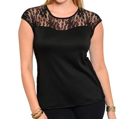 Women's Plus Size Black Top with Lace Accents and Sweetheart Neckline
