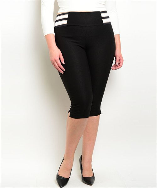 Women's Plus Size Retro Style Black and White Stretch Capri Pants