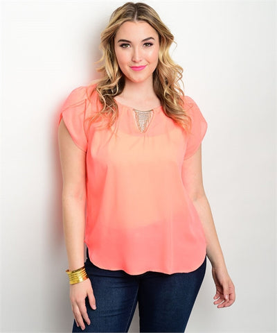 Women's Plus Size Coral Pink Cap Sleeve Top Rhinestone Details
