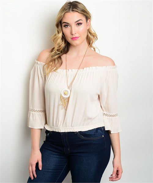 0440200bdf1c7 Women s Plus Size Sexy Cream Off Shoulder Peasant Top – Diva s Plus ...
