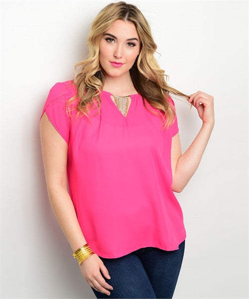 Women's Plus Size Fuschia Pink Cap Sleeve Top with Rhinestone Details