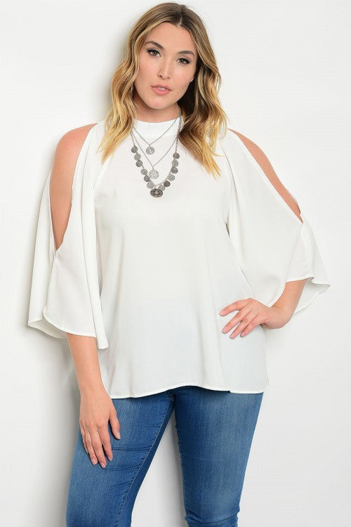 Women's Plus Size White Slit Sleeve Kimono Top
