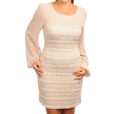Women's Plus Size Sexy Cream Body Hugging Lace Dress