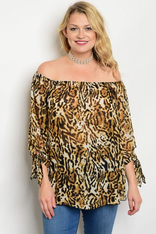 Women's Plus Size Leopard Print Off Shoulder Top