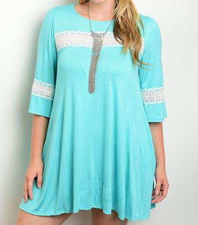 Women's Plus Size Mint Green Dress/Long Top with Lace Accents