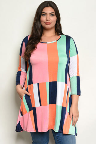 Plus Size Multi Color Tunic Top