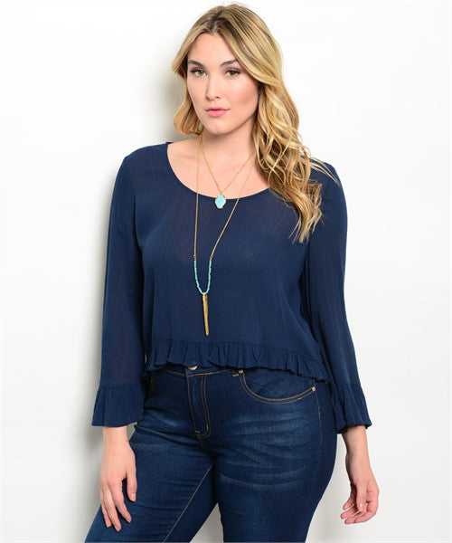 Women's Plus Size Navy Blue Peasant Top