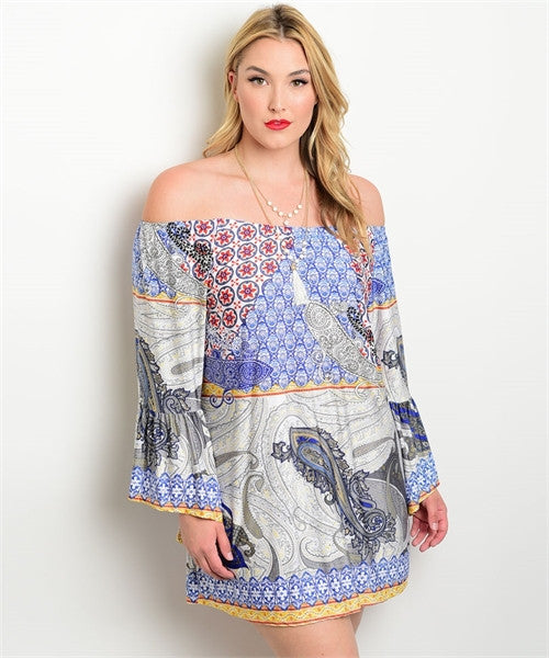 Women's Plus Size Blue and Gray Paisley Print Dress or Long Top