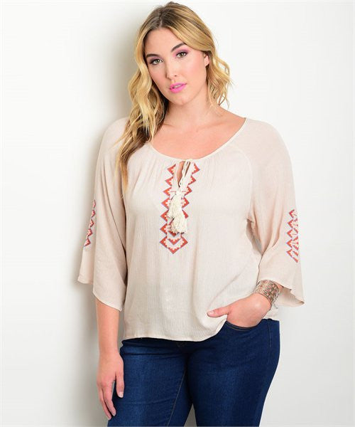 Women's Plus Size Beige Embroidered Peasant Top