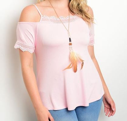 Women's Plus Size Soft Pink Exposed Shoulder Top