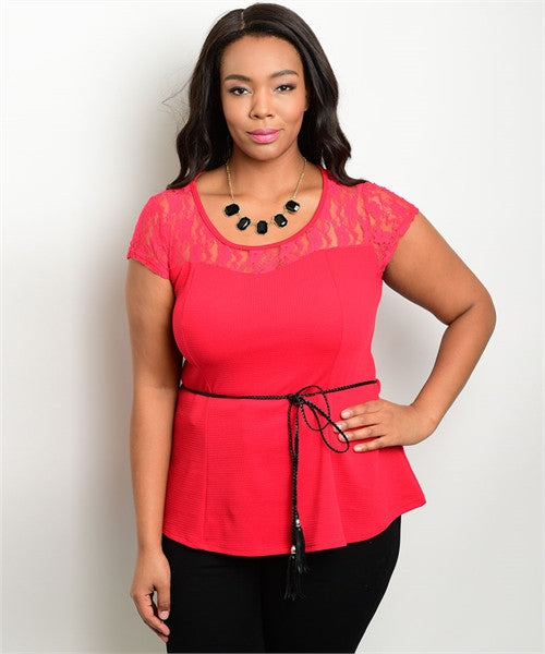 Women's Plus Size Red Peplum Top with Belt and Lace Accents