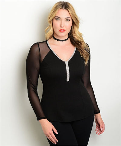 Women's Plus Size Black Top with Sheer Sleeves and Rhinestone Accents