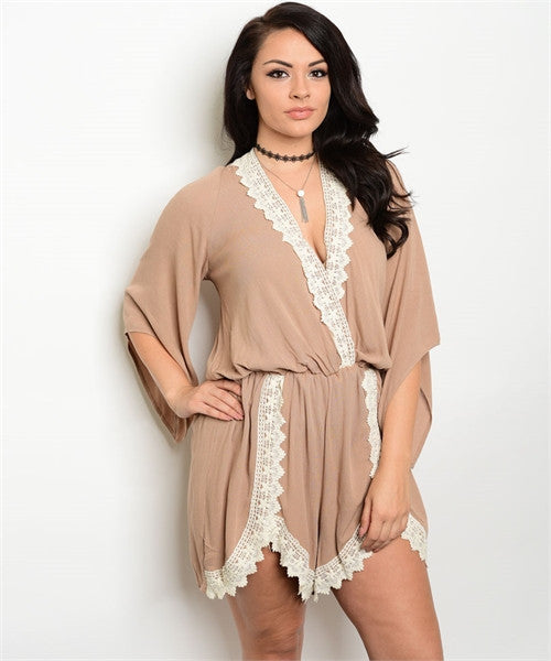Women's Plus Size Tan and White Romper with Lace Accents
