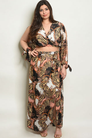2pc Plus Size Chiffon Top and Skirt Set