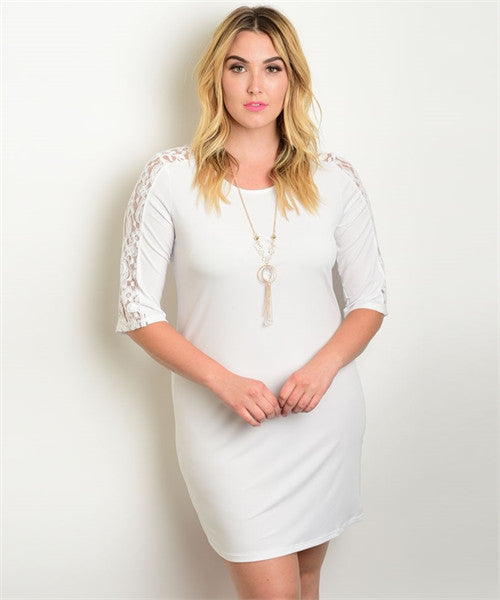 Women's Plus Size White Dress with Lace Accent Sleeves and Necklace